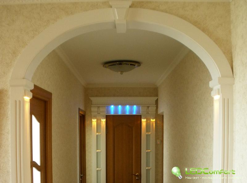 Декоративная подсветка дверных проемов и арок при помощи све.